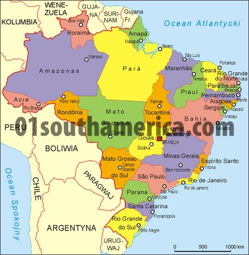 Show Map Brazil - South america map brazil